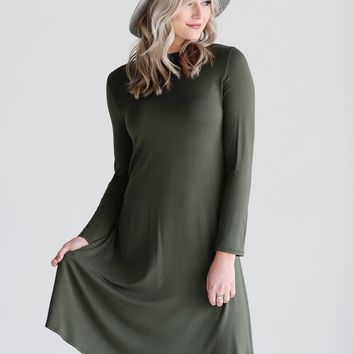 Army DLMN Long Sleeve Swing Dress