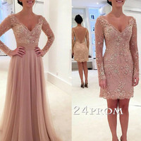 Custom Made 2 Pieces A-line V Neck Tulle Lace Backless Prom Dresses, Formal Dresses