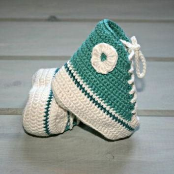 ICIKGQ8 bamboo baby crochet converse style booties 1m 3m high tops shoes boots deep