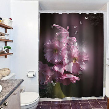 Cherry Blossom Fairy special custom shower curtain