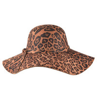 Brown Leopard Print Floppy Wide Brim Hat
