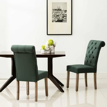 Natalie Roll Top Tufted Green Linen Fabric Modern Dining Chair (Set of 2)