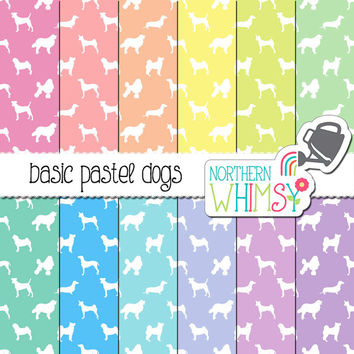 Puppy Digital Paper - pastel dog seamless patterns in pink, peach, yellow, mint, blue & lavender - pet scrapbook paper  - commercial use