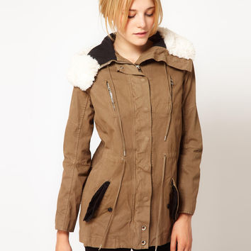 IRO Parka Style Coat with Faux Shearling Trim to Hood