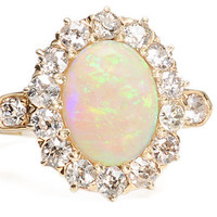 Watery Depths: Art Deco Opal Diamond Ring - The Three Graces