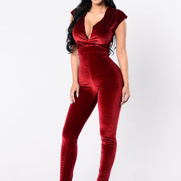 Cocoa Better Kisses Jumpsuit - Wine