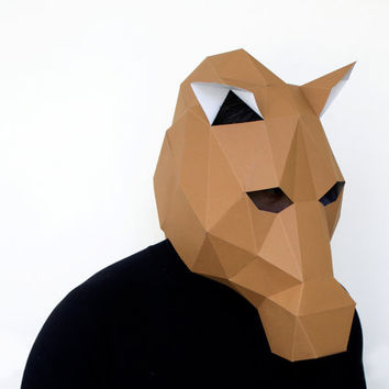 Make your own Horse Mask, Stallion Mask, Instant Pdf download, DIY New Year Mask, Polygon Masks, Printable Mask