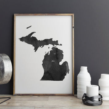 Michigan Watercolor Printable Art Michigan Poster State Watercolor Map Art Print Watercolor Poster State Poster Michigan Instant Download