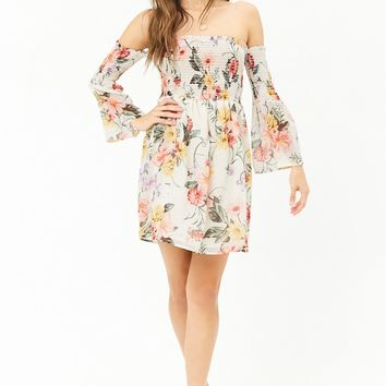 Floral Chiffon Off-The-Shoulder Dress