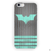 Mint Batman Logo Strippes On Dark Wood For iPhone 6 / 6 Plus Case