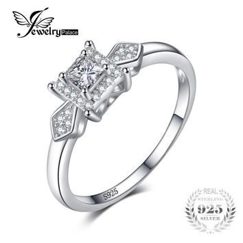 JewelryPalace Exquisite Princess-Cut Cubic Zirconia Wedding Anniversary Woman Fashion Ring 925 Sterling Silver Birthday Present
