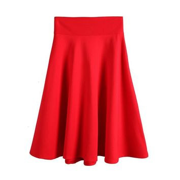 High Waist Pleat Elegant Skirt 2017 Vintage Knee-Length Flared Skirts Fashion A-line Women Faldas Saia 5XL Plus Size Ladies Jupe