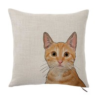 "Orange Tabby Cat Color Portrait Design Cotton Linen Square Decorative Throw Pillow Case Cushion Cover 16"" X 16"""