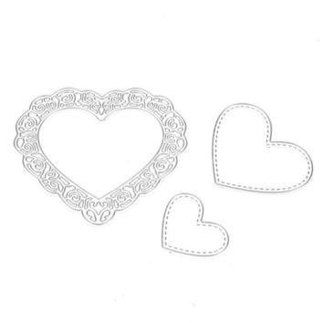 3pcs/set Scrapbooking Paper Cards Love Heart Metal Cutting Dies Stencil DIY Scrapbooking Craft Embossing Decorative