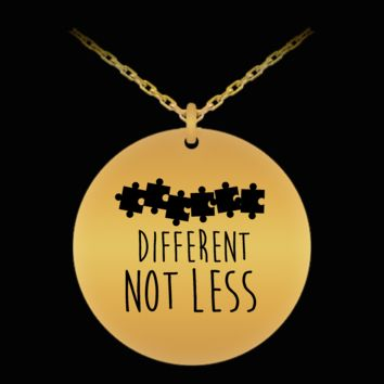 Autism Awareness Puzzle Different Not Less 18K Gold Plated