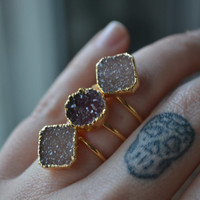 MOON RISING  /// Size 5.5 /// Druzy Ring /// Electroformed 24kt Gold