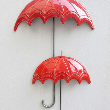 Red ceramic umbrella large Ceramic wall art Top Umbrella