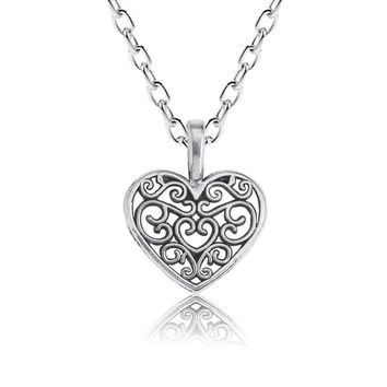 DIY Trendy Heart Necklace For Women Hollow Flower Love Pendant Silver Double Side Necklaces&Pendants Lovers' Gift Dropshipping