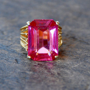Vintage Pink Rhinestone Ring Large Emerald Cut Stone 14K Gold Electroplate Size 5 1/2 Statement Bling Ring 1990's // Vintage Costume Jewelry