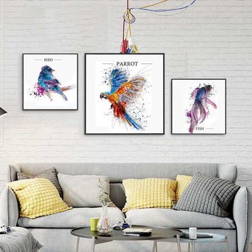 Abstract Canvas Printings Colorful Parrot Wall Art Canvas Prints Bird Fish Posters And Prints Decorative Posters For Living Room