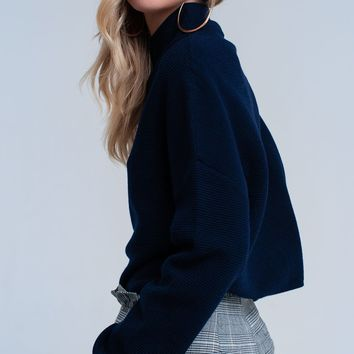 Navy ribbed crop sweater