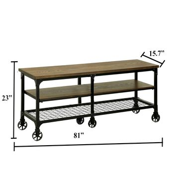 """Industrial Style 81"""" TV Stand And Entertainment Center With 6 Caster Wheels, Brown and Black By Furniture Of America"""