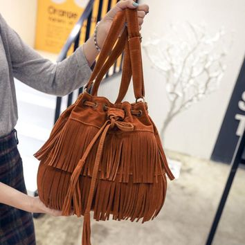 2017 Women Messenger Bag New Handbag Shoulder Faux Suede Fringe tassels Bag