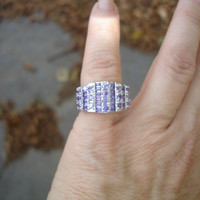 Amethyst ring, purple multi stone band ring Size 6
