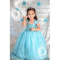 Princess Anna Elsa Dress Cosplay Costume Custom Kids Princess Dress Sequined Cotton Costume Baby Girls Dress Vestidos Children