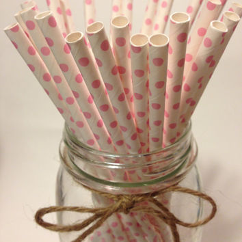 25 Light Pink Polka Dot paper straws // baby bridal shower decorations /candy dessert buffet table / wedding / First birthday/new year party