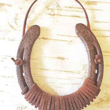 Rusty Patina Aged Horseshoe Wrapped in Leather Lace, Good Luck Horseshoe Wall Hanging, Worn On Real Horse, Cowboy Cowgirl, Western Decor