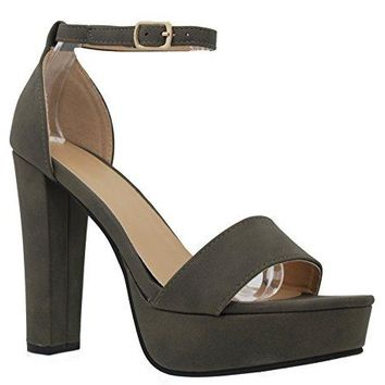 MVE Shoes Open Toe Ankle Strap Chunky Heel PumpsShoes