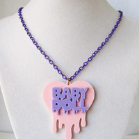 Dripping Heart Baby Doll Necklace Lavender x Pink Kawaii Fairy Kei Creepy Cute
