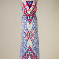 Wild West Maxi Dress -Blue - Hazel & Olive