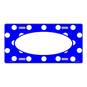 Smart Blonde LP-1365 Royal Blue White Polka Dot Pattern With Center Oval Background Customizable Metal Novelty License Plate Tag Sign