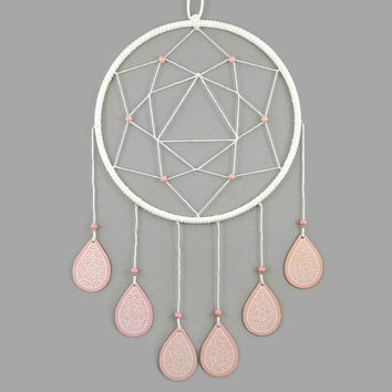 White dreamcatcher with coral pink drops, modern dreamcatcher, pastel dreamcatcher, nursery wall decor, kid's room decor, home decor