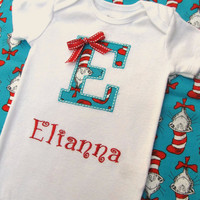Personalized Embroidered Initial Onesuit-Embroidered Initial Infant Bodysuit- Dr. Seuss Appliqued Onesuit- Cat in The Hat Onesuit