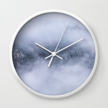 Beneath The Fog Wall Clock by Mixed Imagery