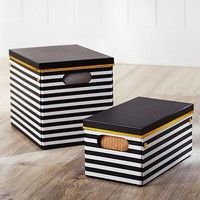 Black/White Stripe Printed Storage Bins