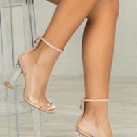 Transparent Clear Perspex Lucite Heel Open Peep Toe Bootie Ankle Boots