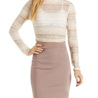 Pristine Lace Mock Neck Crop Top by Charlotte Russe