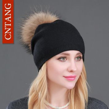 Winter Knitted Wool Hats For Women Fashion Pompon Beanies Fur Hat Female Warm Caps With Natural Genuine Raccoon Fur Cap