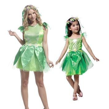 Cool Umorden Carnival Party Halloween Costumes Girls Tinkerbell Princess Dress Women Woodland Green Fairy Elf Cosplay for Adult KidsAT_93_12