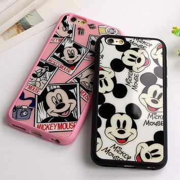 DCCKF4S Sweetheart Mickey Minnie Mouse black Silicone Phone Cover Mirror Case For Apple iPhone 7 6 6S 4.7''/ 6 7 Plus 5.5'' 5 5S SE Capa