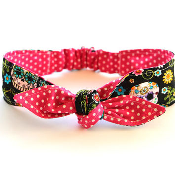 Reversible Baby Toddler Pre-tied Head Scarfs Day of the Dead Sugar Skulls over Hot Pink Polka Dots Cinco De Mayo Headband LIMITED QUANTITY