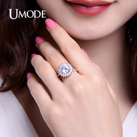 UMODE CZ Crystal Promise Rings For Women White Gold Color Christmas Gifts Halo Wedding Rings Retro Jewelry Bague Femme UR0364B