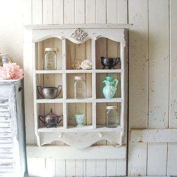 Vintage Wooden Shelf, Divided Wall Shelf, Farmhouse Antique White Shelf with Hooks, Kitchen Shelf Bathroom Shelf Bedroom Shelf, Ornate Shelf