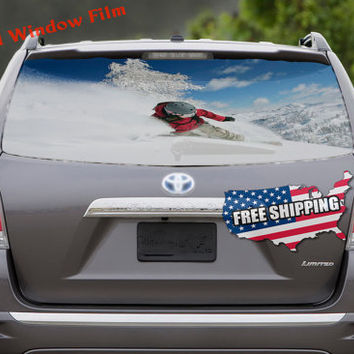Snowboarding Ride in Forest Sport Full Color Print Perforated Film Truck SUV Back Window Sticker Perf009
