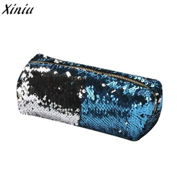 Fashion Double Color Sequins Handbag Cosmetic Bag Female Zipper Cosmetics Bag Portable Travel Make Up Pouch Small Pouch Bag