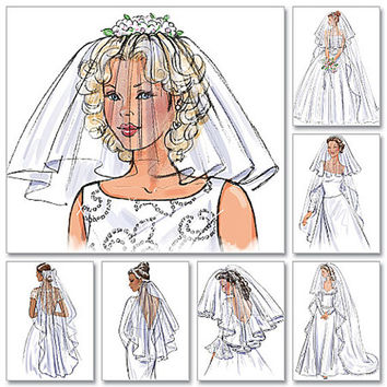 Wedding Bridal Veils 6 Styles Blusher Long or Short Veil Patterns Cathedral, Chapel Length Headpieces Butterick 4487 UNCUT Sewing Patterns
